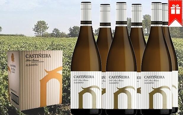 Caja 6 botellas de vino blanco Albariño