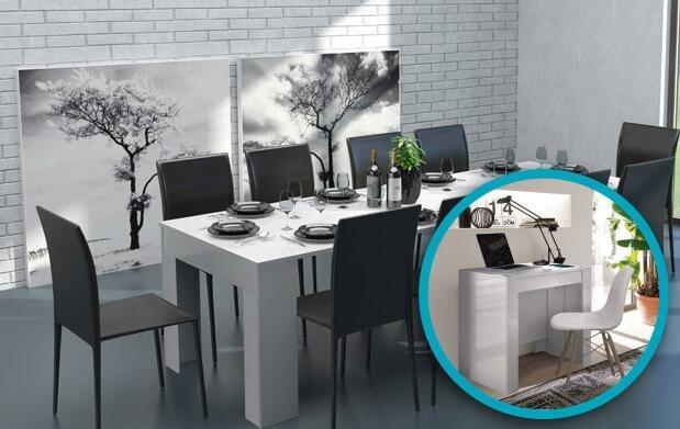 Consola o mesa hasta 10 en un único mueble
