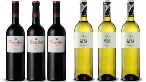 3 botellas MONTE REAL CRIANZA DE FAMILIA + 3 botellas VEIGA NAUM ALBARIÑO