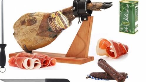Paleta Ibérica certificada + jamonero + cuchillo chaira + aceite + DVD