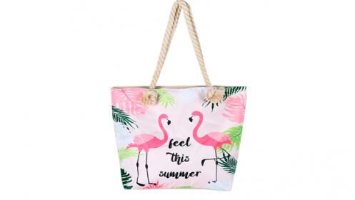 Bolsos de playa con estampado tropical
