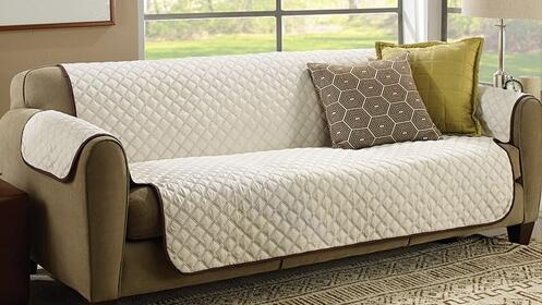 Funda beige reversible para sofás libres de suciedad